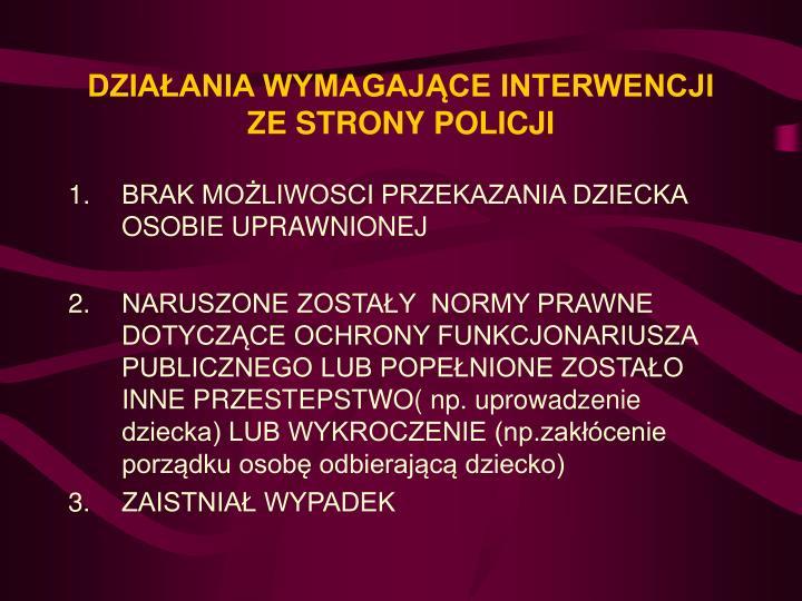 DZIAŁANIA WYMAGAJĄCE INTERWENCJI ZE STRONY POLICJI