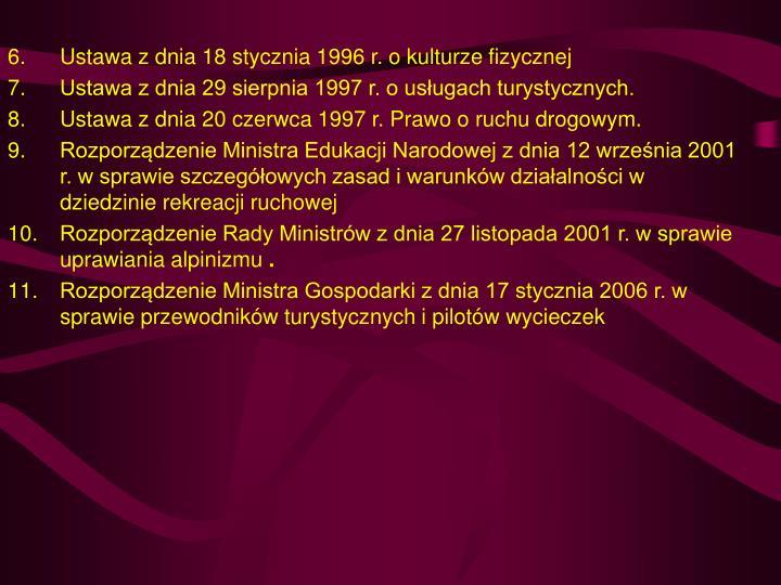 Ustawa z dnia 18 stycznia 1996 r. o kulturze fizycznej