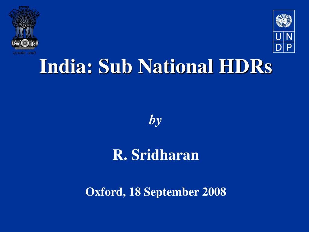 India: Sub National HDRs