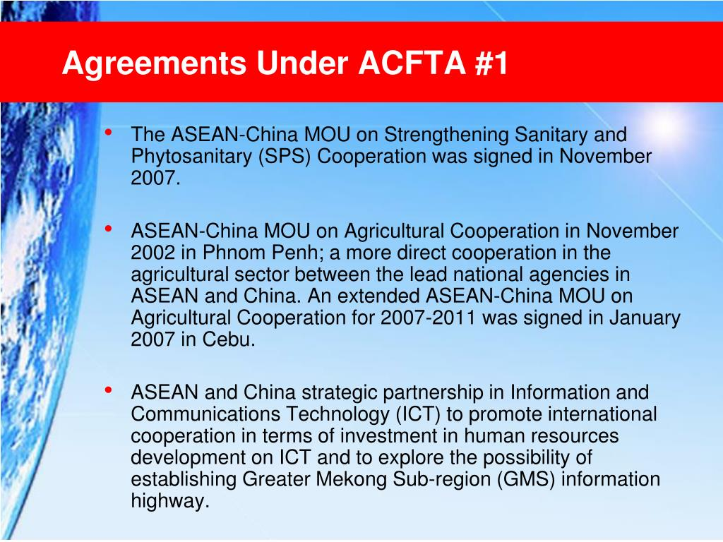 Agreements Under ACFTA #1