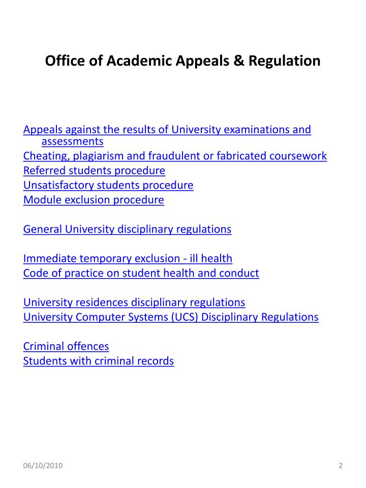 Office of academic appeals regulation