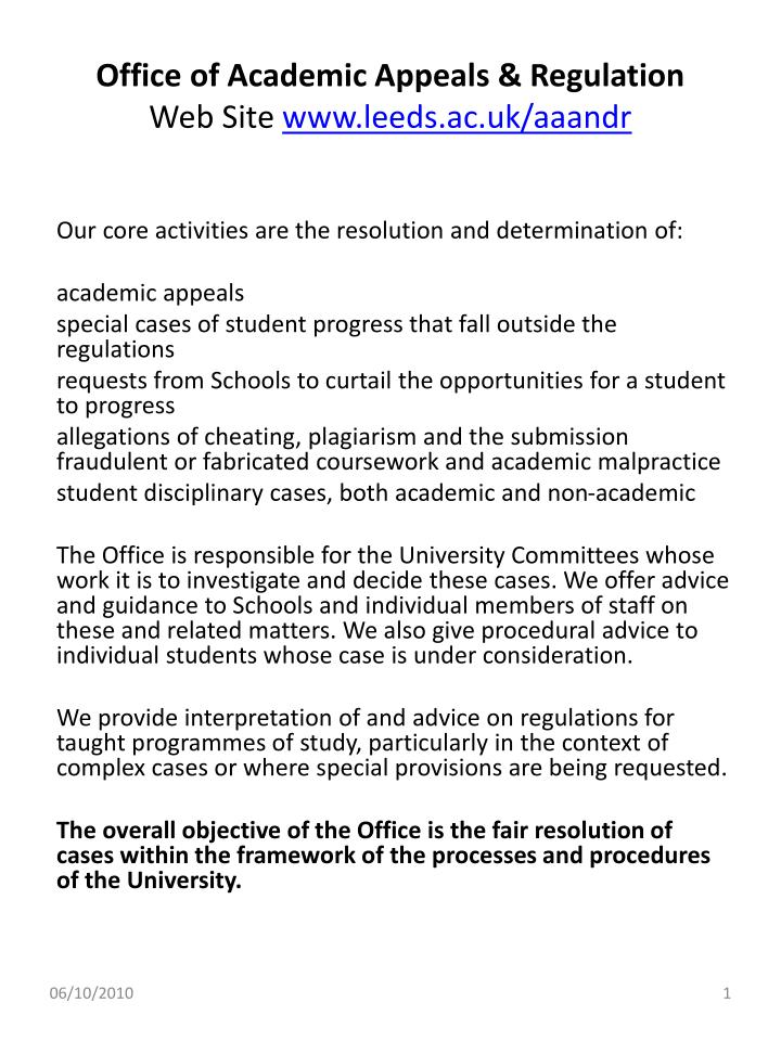 Office of academic appeals regulation web site www leeds ac uk aaandr