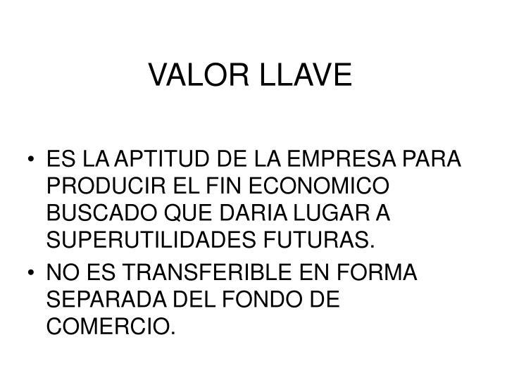 VALOR LLAVE