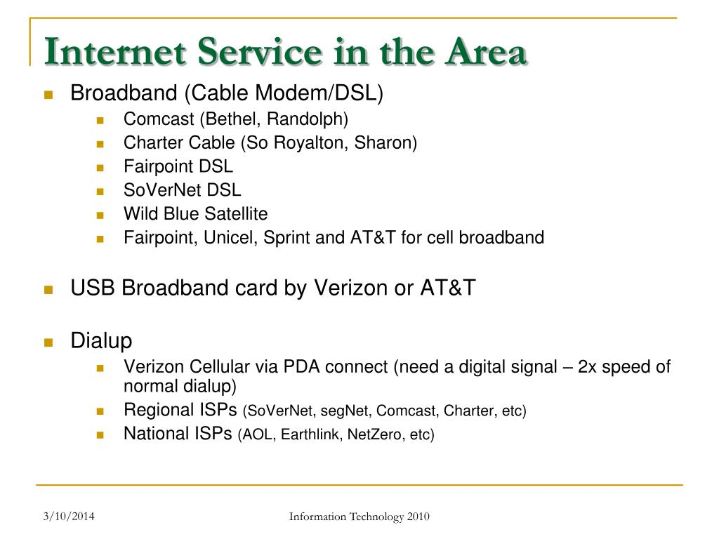 Internet Service in the Area