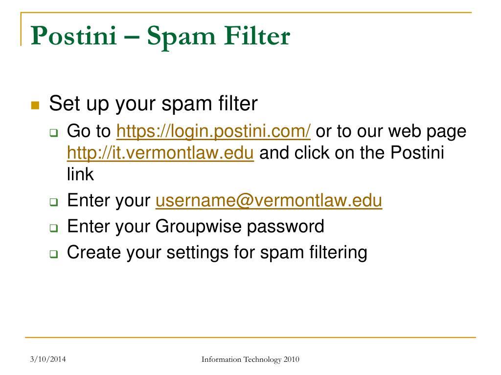 Postini – Spam Filter