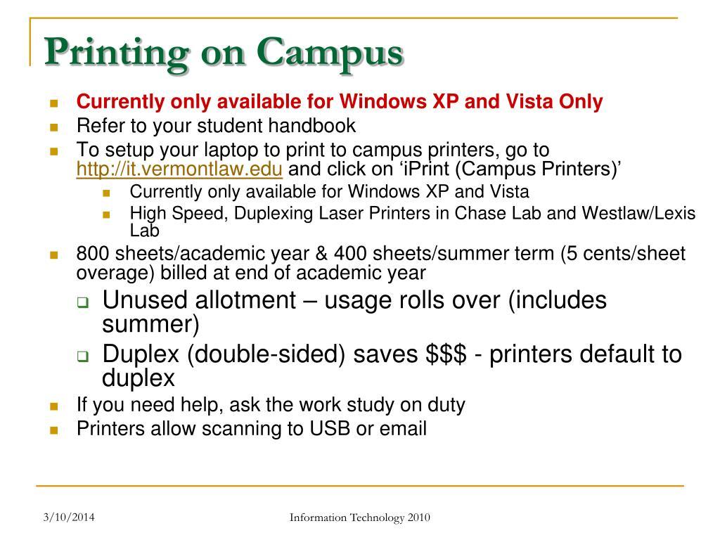 Printing on Campus