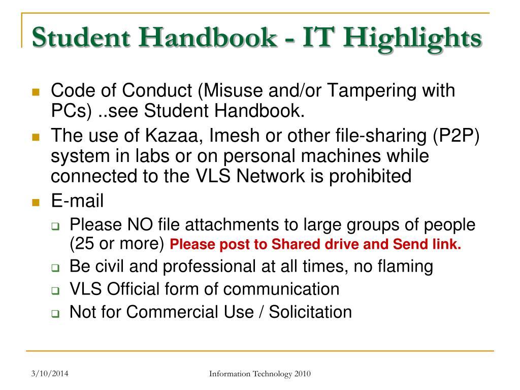 Student Handbook - IT Highlights