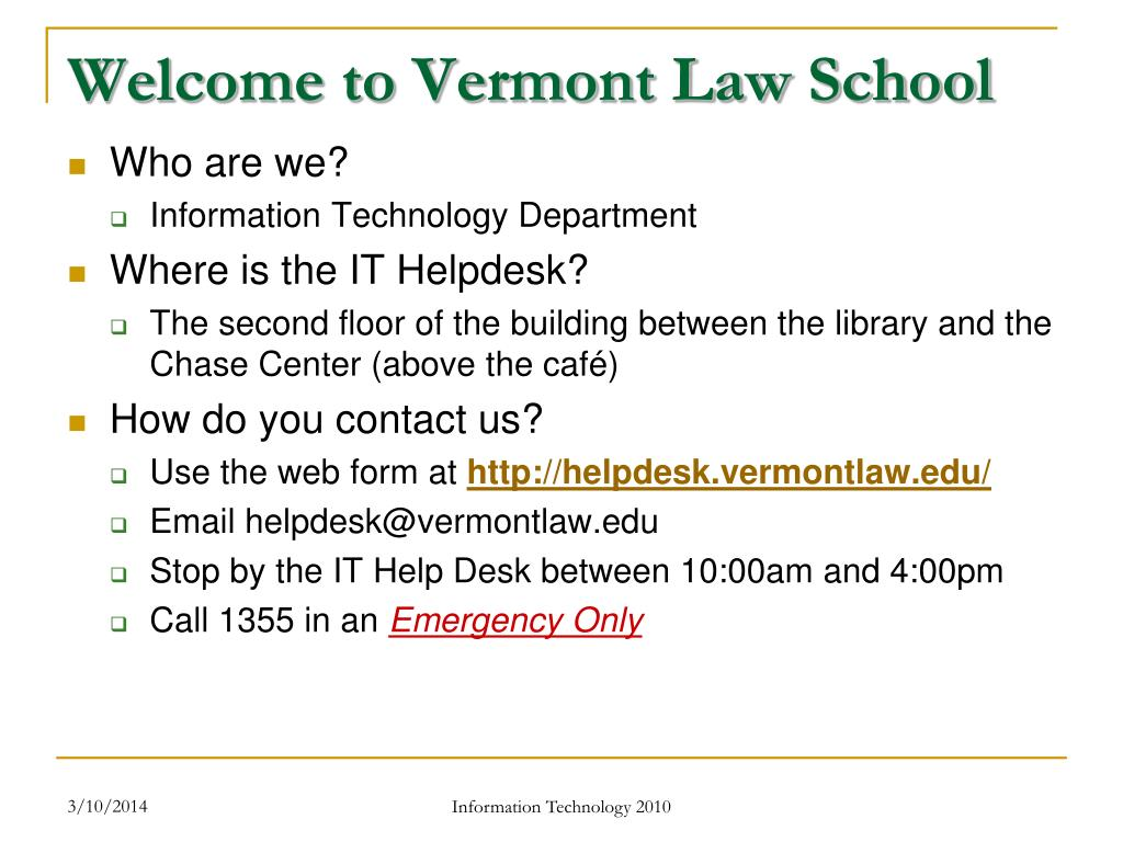 Welcome to Vermont Law School