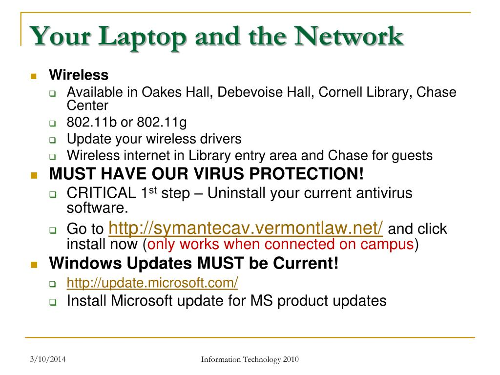Your Laptop and the Network