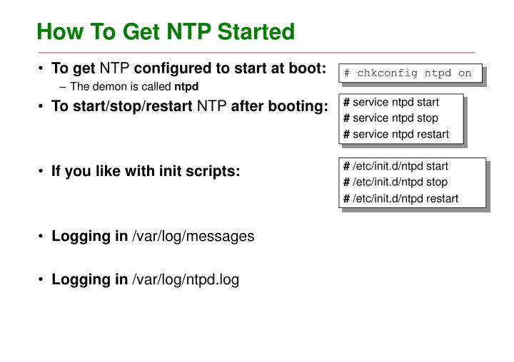 How To Get NTP Started