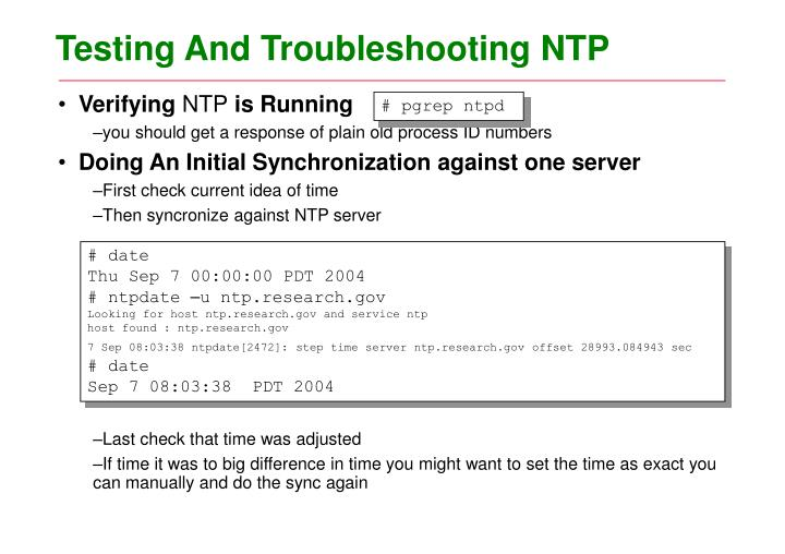 Testing And Troubleshooting NTP