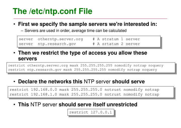 The /etc/ntp.conf File
