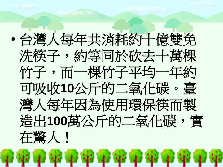 台灣人每年共消耗約十億雙免洗筷子,約等同於砍去十萬棵竹子,而一棵竹子平均一年約可吸收