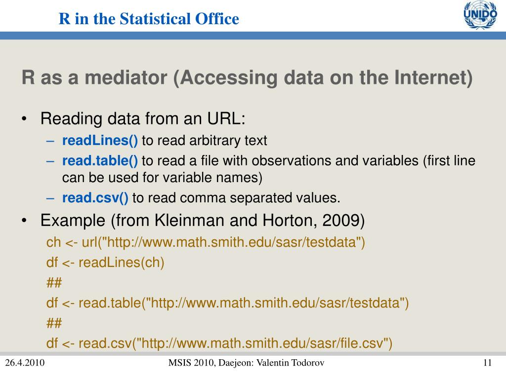 R as a mediator (Accessing data on the Internet)