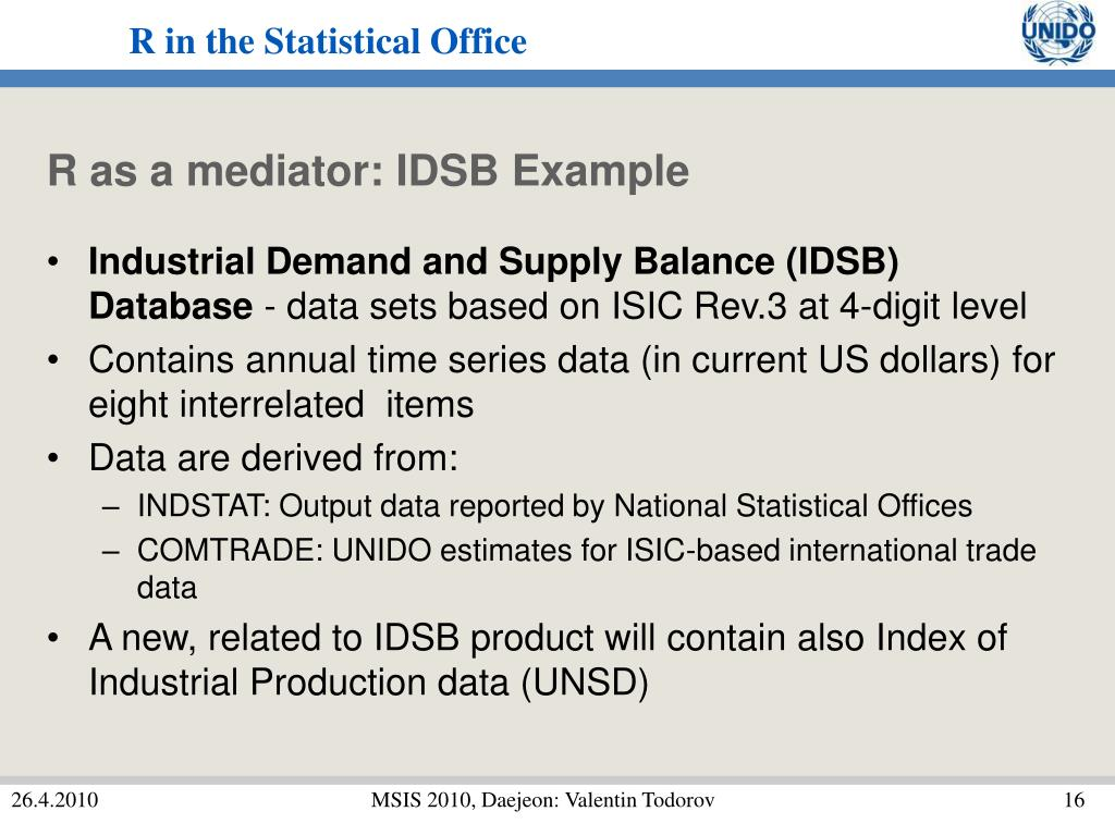 R as a mediator: IDSB Example