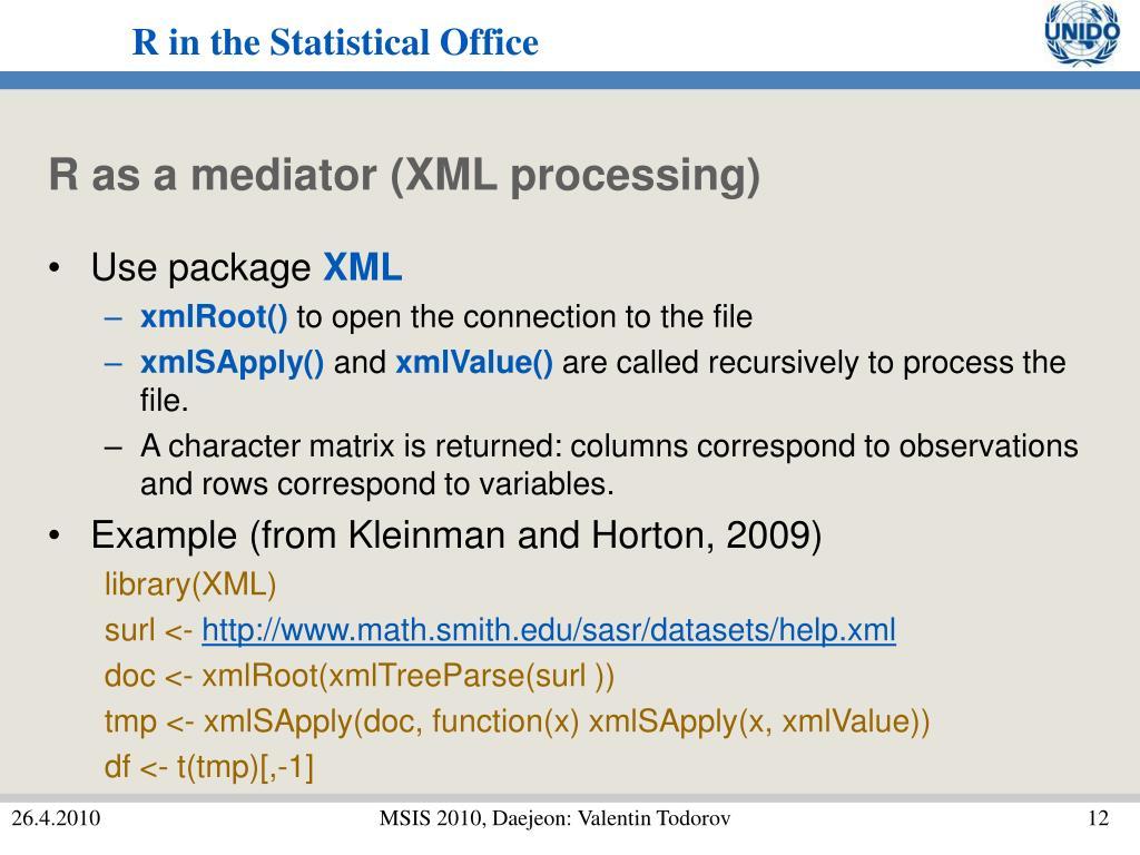 R as a mediator (XML processing)