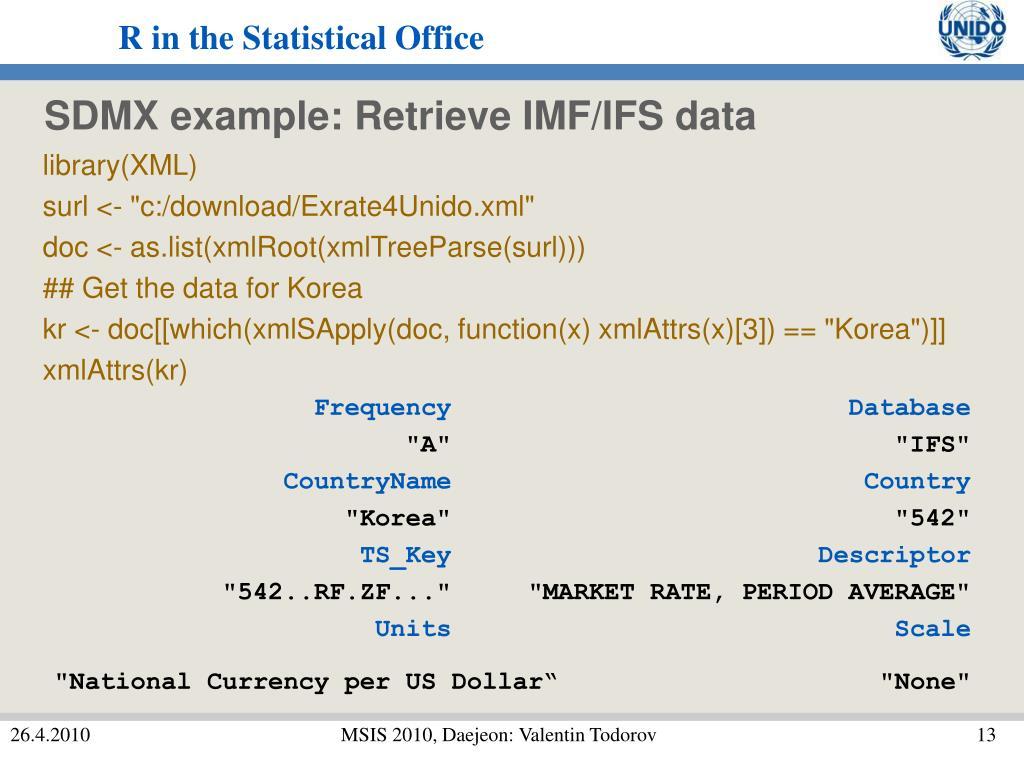 SDMX example: Retrieve IMF/IFS data
