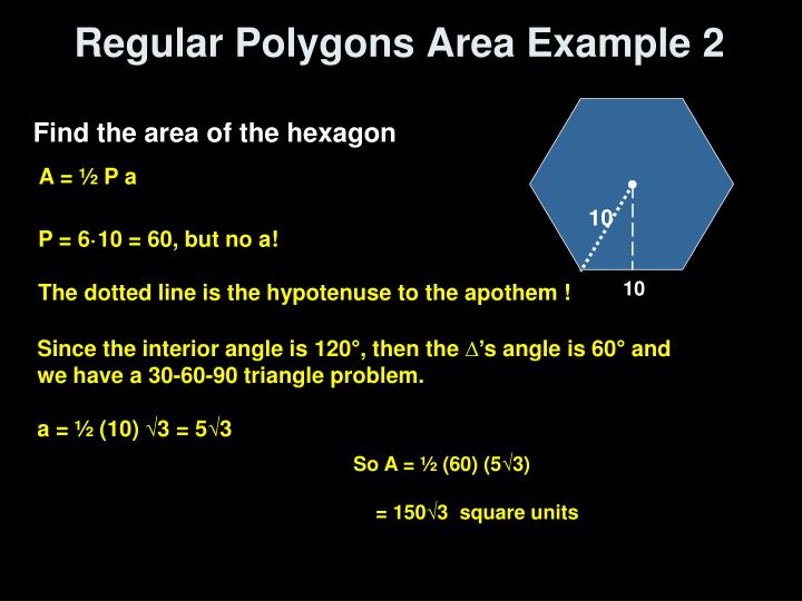 Regular Polygons Area Example 2