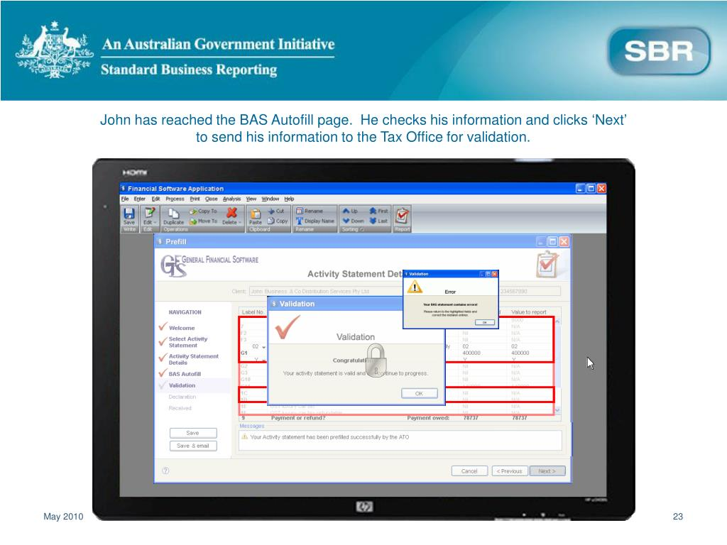 John has reached the BAS Autofill page.  He checks his information and clicks 'Next' to send his information to the Tax Office for validation.
