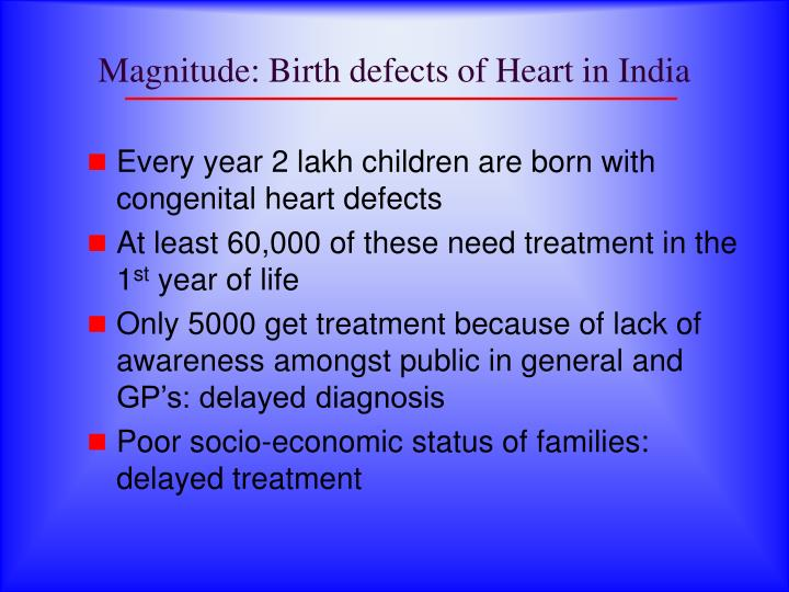 Magnitude: Birth defects of Heart in India