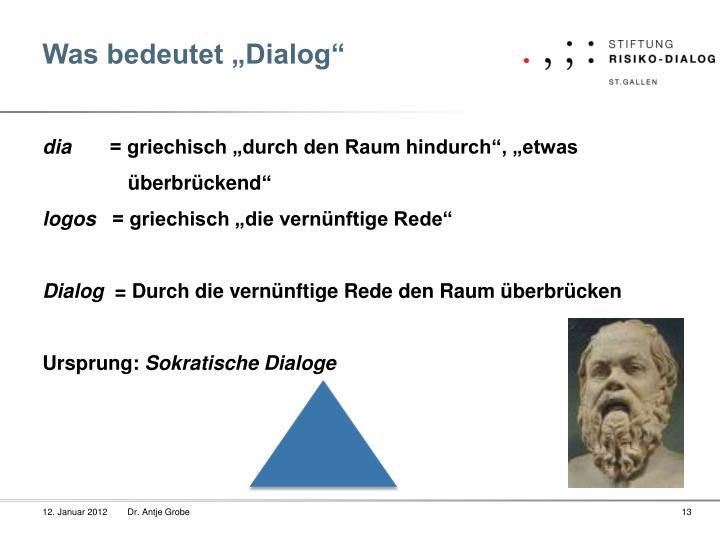 """Was bedeutet """"Dialog"""""""