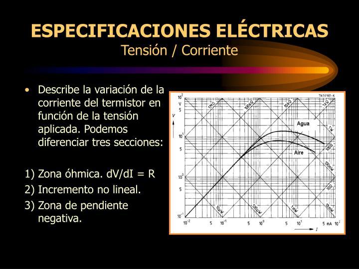 ESPECIFICACIONES ELÉCTRICAS
