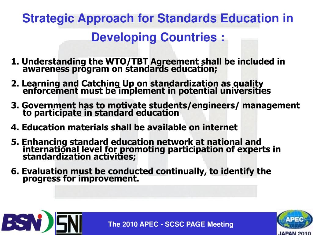 Strategic Approach for Standards Education in Developing Countries :