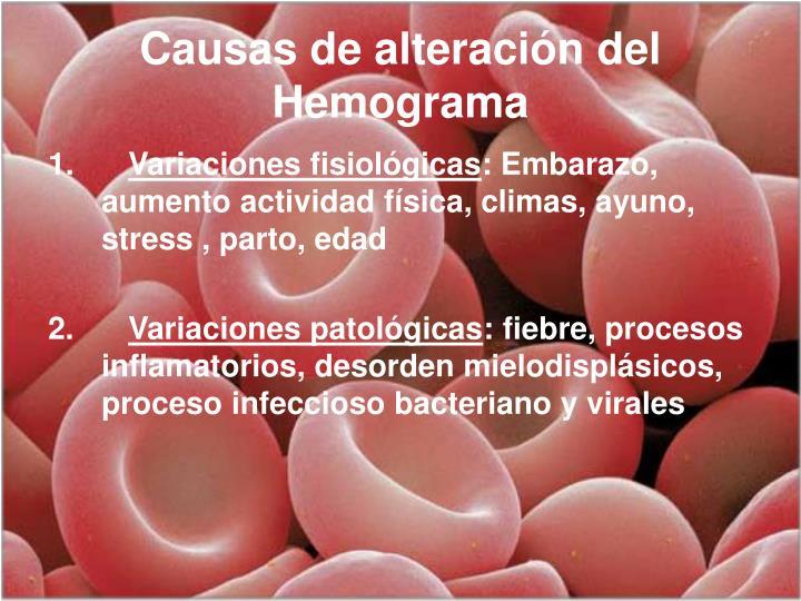 Causas de alteración del Hemograma