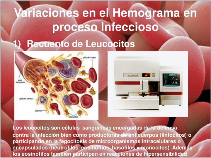 Variaciones en el Hemograma en proceso Infeccioso