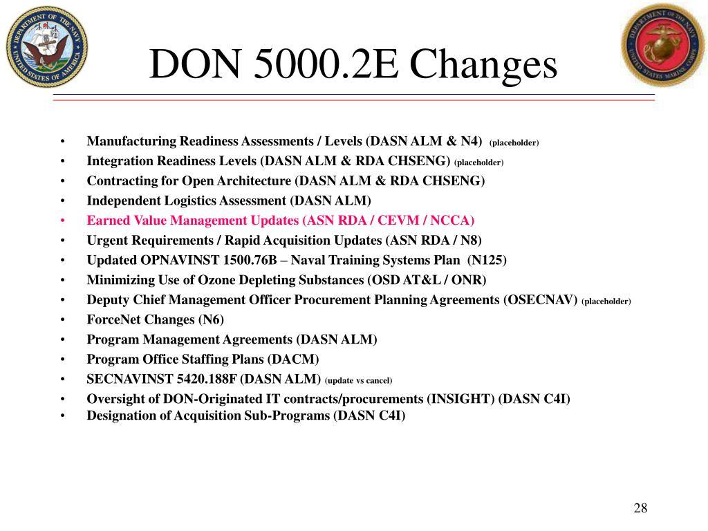 DON 5000.2E Changes