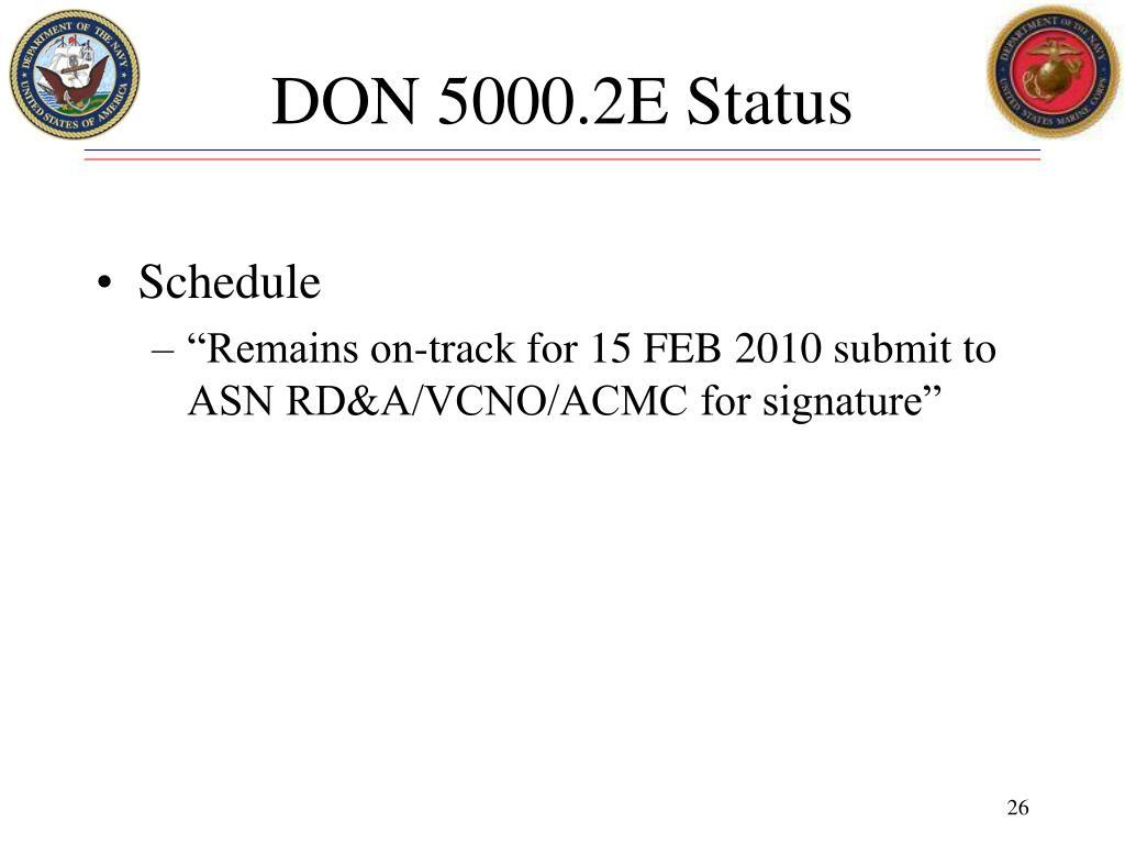 DON 5000.2E Status