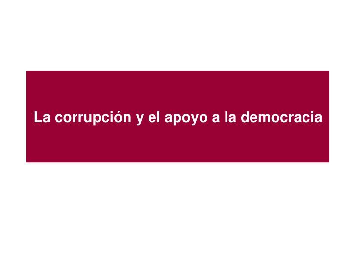 La corrupción y el apoyo a la democracia