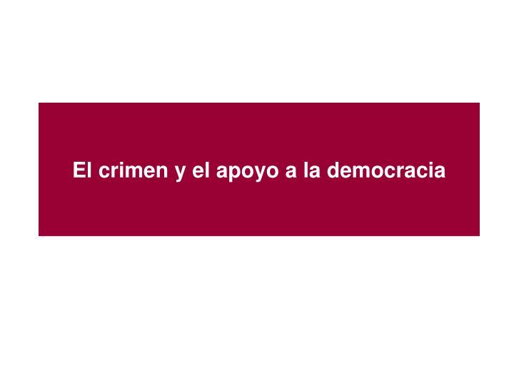 El crimen y el apoyo a la democracia