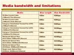 media bandwidth and limitations