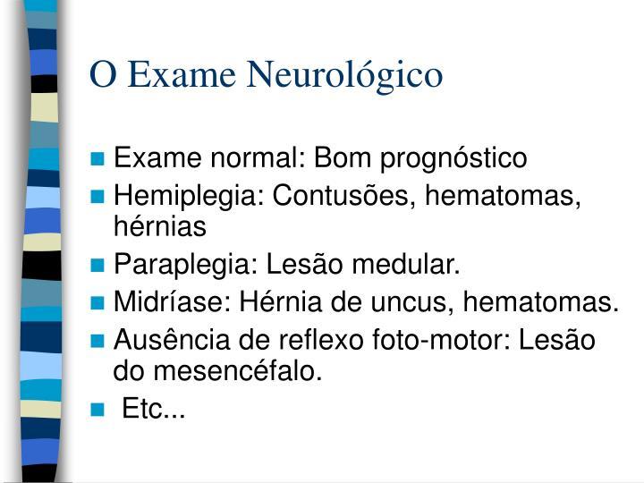O Exame Neurológico