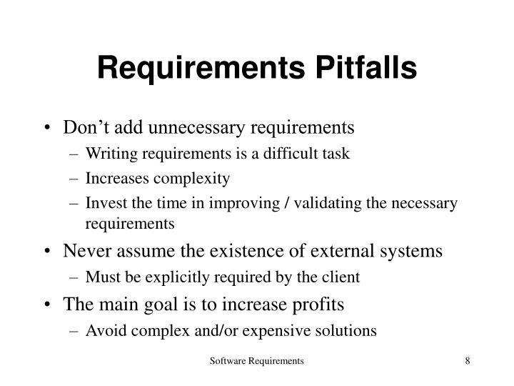 Requirements Pitfalls