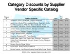 category discounts by supplier vendor specific catalog