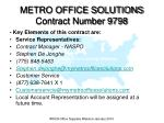 metro office solutions contract number 9798