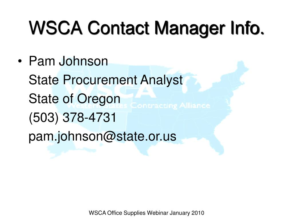 WSCA Contact Manager Info.