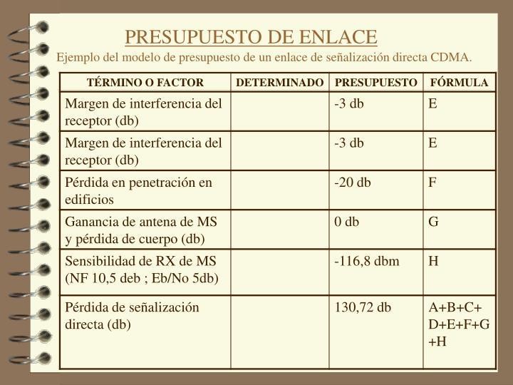 PRESUPUESTO DE ENLACE