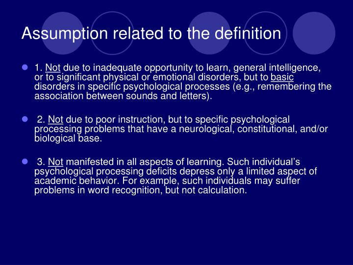Assumption related to the definition