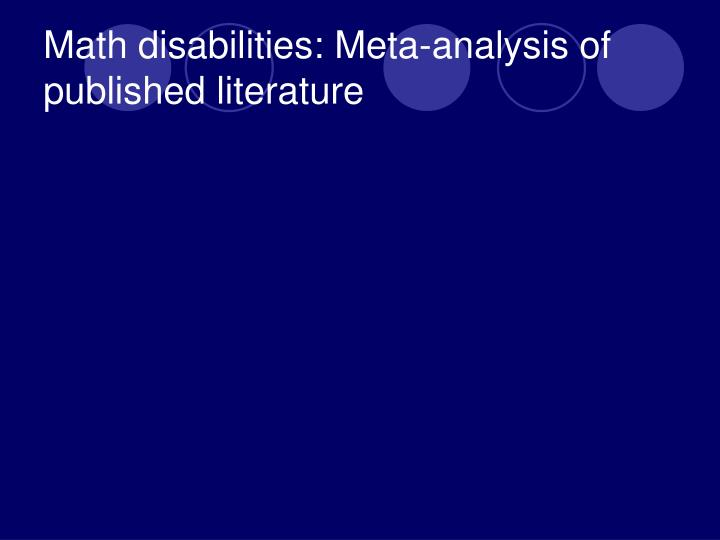 Math disabilities: Meta-analysis of published literature