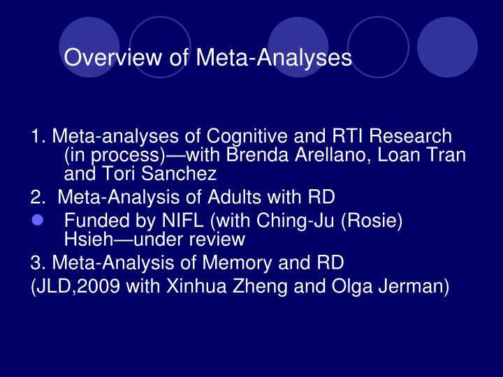 Overview of meta analyses