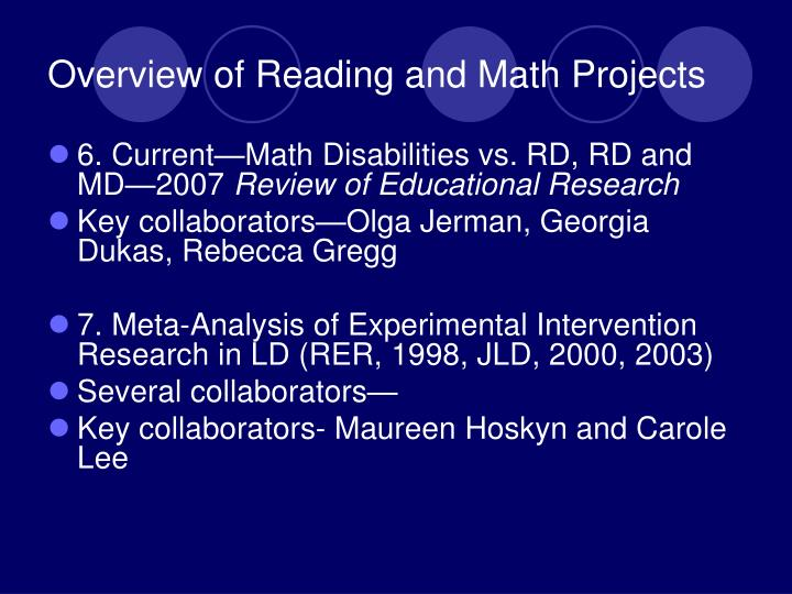 Overview of Reading and Math Projects