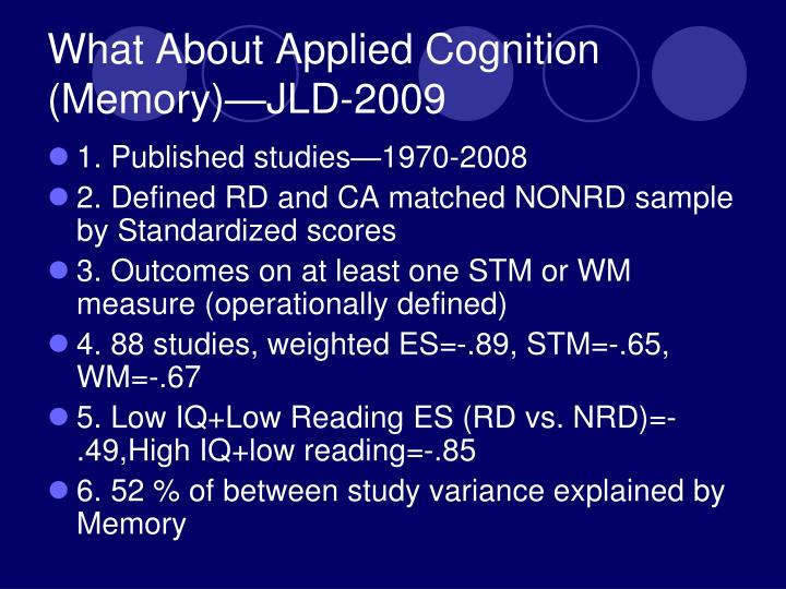 What About Applied Cognition (Memory)—JLD-2009