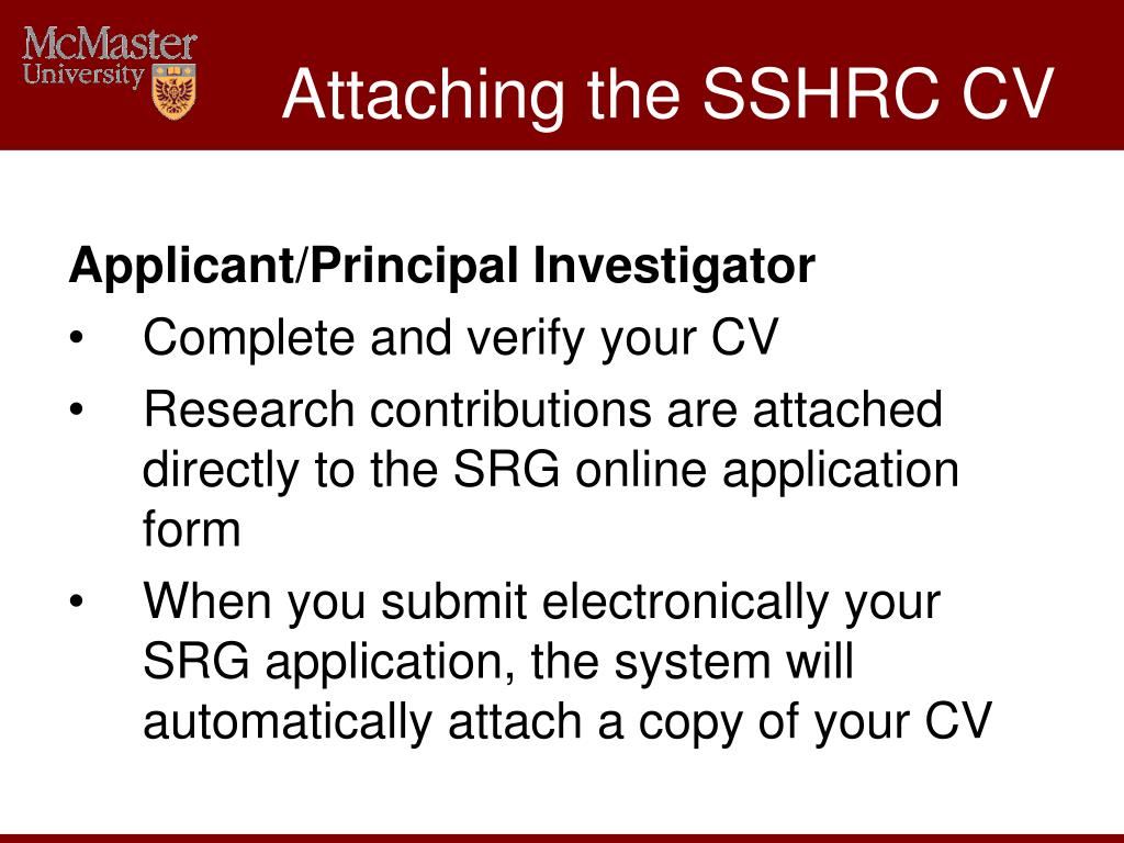 Attaching the SSHRC CV