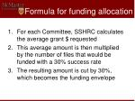 formula for funding allocation