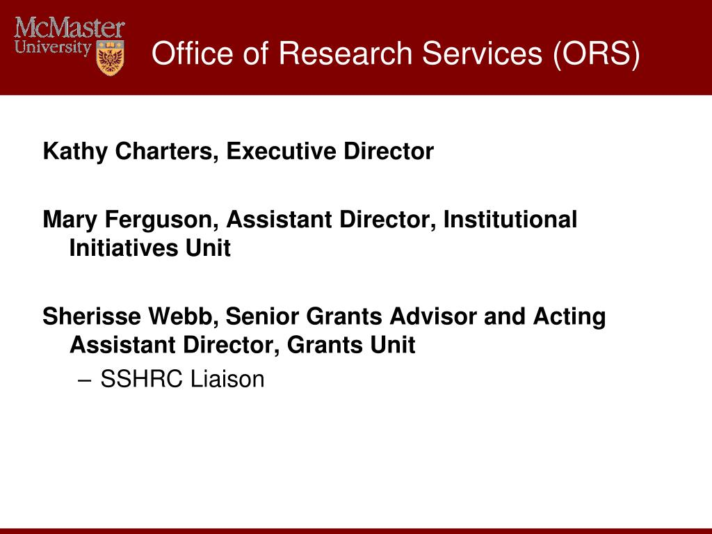 Office of Research Services (ORS)