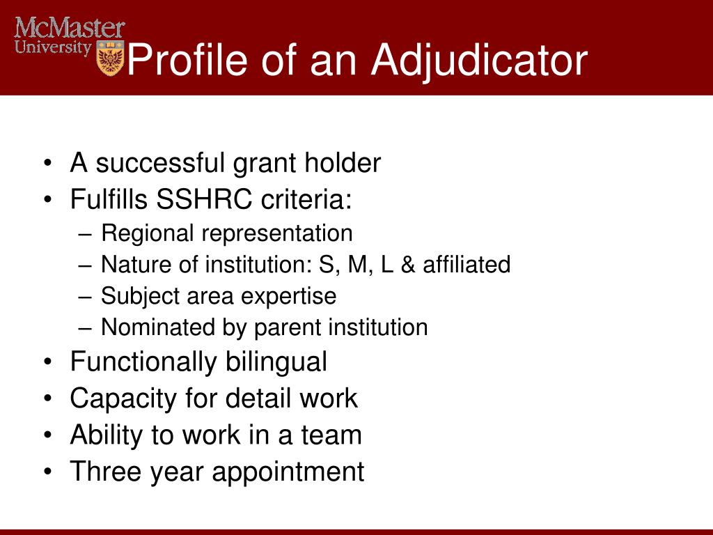 Profile of an Adjudicator