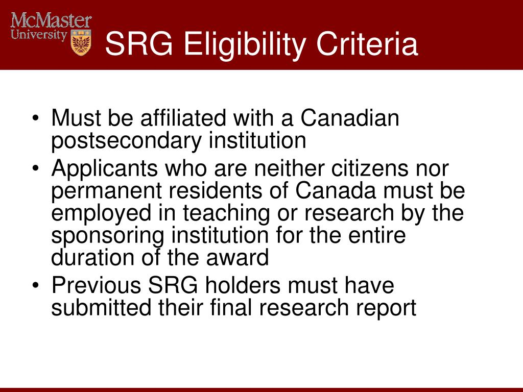 SRG Eligibility Criteria